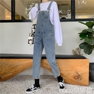 連體褲減齡牛仔背帶褲女寬鬆2020春季新款韓版直筒褲學生顯瘦百搭連體褲