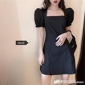 大碼女裝夏裝新款復古方領泡泡袖黑色裙子胖mm遮肉顯瘦氣質洋裝 檸檬衣舍