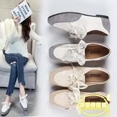 網紅智熏單鞋女方頭小香風拼接休閑鞋新款平底系帶運動鞋