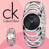 CK 手錶專賣店  K4G23121 女錶 手環式 黑面 石英 強化耐磨玻璃鏡面 不鏽鋼錶殼