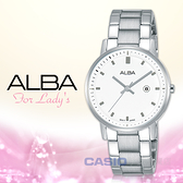 ALBA 雅柏 手錶專賣店 AH7P13X1 石英女錶 不鏽鋼錶帶 白 防水50米 日期 顯示 全新品