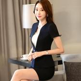 韓版夏季職業套裝女短袖套裙顯瘦修身西裝女士正裝酒店美容工作服 MKS免運