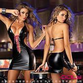 情趣睡衣 情趣用品 極道甜心 胸前交叉綁繩 美背 塗膠漆皮彈力緊身裙-黑