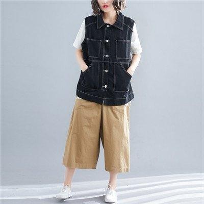 韓版外套秋衣新款韓版寬鬆顯瘦大碼牛仔無袖馬甲外套R31B-9016.1號公館