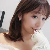 耳環 簡約個性羅馬數字圓形水鑽鋯石耳墜耳釘女氣質電鍍玫瑰金耳環韓國  城市玩家