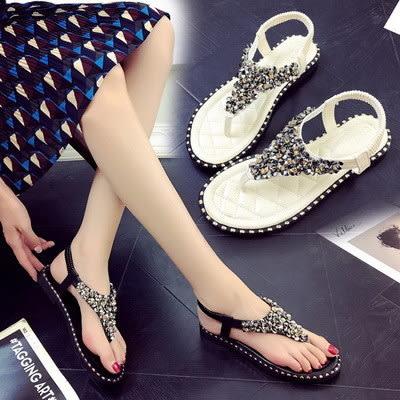 涼鞋韓版涼鞋奢華風水鑽亮片裝飾平底夾腳涼
