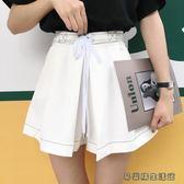 春夏女裝寬鬆明線綁帶闊腿褲裙褲