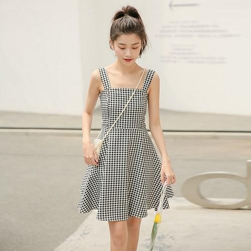 吊帶洋裝-格子平口簡約收腰連身裙2色73xm3【時尚巴黎】