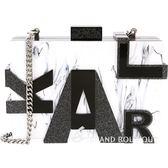 [ NG大放送 ] KARL LAGERFELD MARBLE 黑白大理石紋字母硬殼鍊帶包 1790090-37