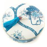 花開如意陶瓷糖果盒 藍色