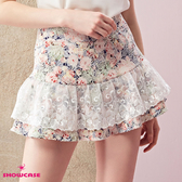 【SHOWCASE】小碎花蕾絲荷葉襬包臀窄裙(粉)