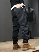 春季牛仔褲男士潮流寬鬆大碼小腳哈倫褲加肥加大束腳褲胖子褲子男