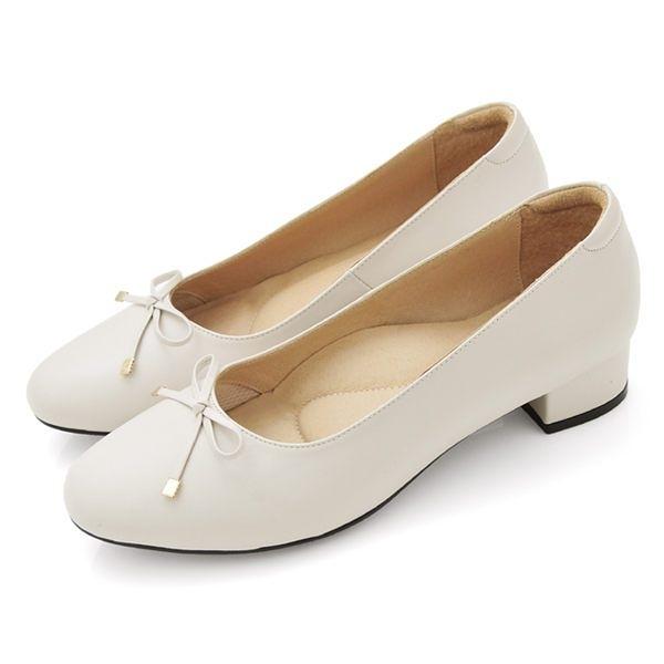 全真皮金屬蝴蝶結低跟包鞋-白色‧karine(MIT台灣製)