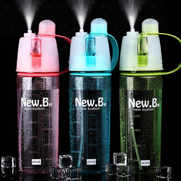 【Love Shop】創意式噴霧式水杯 夏季攜帶式大容量透明水壺 戶外運動降溫補水瓶 加濕器/加濕噴霧器