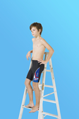 【M9232】梅林泳裝2020新品特價~男童黑色搭藍色塊星星徽章馬褲