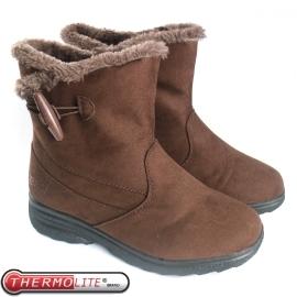 【女 牛角扣低筒雪靴 咖啡】SN205/低筒靴/雪靴/雪鞋/冰爪★滿額送