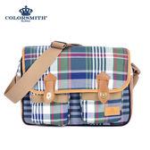 【COLORSMITH】LPC・英倫格紋學院斜背包-經典綠格紋・LPC1265-CH