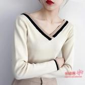 針織上衣 女秋冬針織衫女薄款長袖雞心V領拼色套頭打底衫上衣外穿 5色