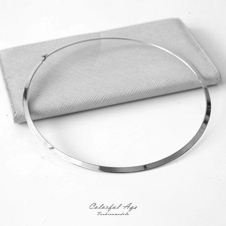 頸圈項鍊 素面銀色鋼製頸圈 柒彩年代【NJ3】