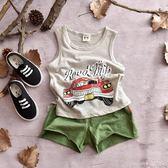兒童背心夏季薄款打底衫男童小汽車無袖上衣【洛麗的雜貨鋪】