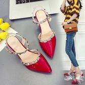 夏季新款鉚釘尖頭細跟高跟鞋女漆皮柳丁一字扣單鞋包頭涼鞋貓跟女