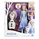 《 Disney 迪士尼 》冰雪奇緣2 艾莎與雪寶人物組╭★ JOYBUS玩具百貨