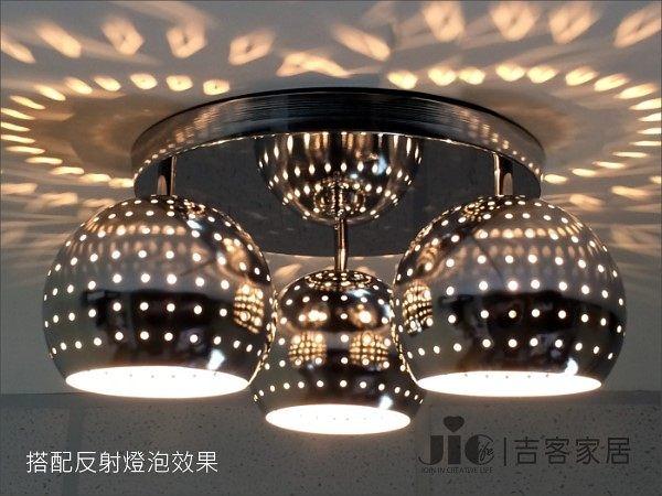 [吉客家居]吸頂燈 - DISCO 圓球-3頭 金屬時尚造型現代簡約北歐餐廳臥室玄關走道梯間民宿咖啡館