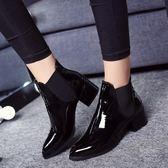 黑五好物節2018歐美短靴尖頭低跟漆皮馬丁靴短筒裸靴女鞋英倫粗跟單靴及棉鞋  初見居家