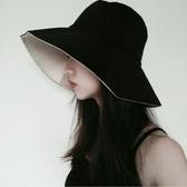 韓版雙面純色漁夫帽女季冷淡風大簷盆帽百搭日繫遮陽防曬太陽帽 蜜拉貝爾