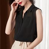无袖雪纺衬衫女2021夏装新款宽松黑色上衣时尚洋气小衫雪纺衫短袖