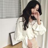 618好康又一發春夏裝2018新款女裝v領襯衫女長袖寬鬆正韓百搭學生韓風chic襯衣