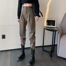 工裝褲女秋冬顯瘦顯高小個子加厚韓版寬鬆高腰休閒毛呢褲子哈倫褲 伊蘿