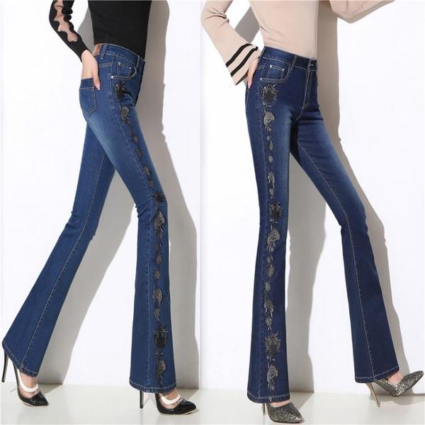 寬管褲 春夏款高腰彈力牛仔褲女修身顯瘦闊腿民族風刺繡花直筒微喇叭長褲