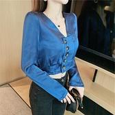 限時特銷 優質秋季新款女韓版甜美長袖小清新側排扣短款設計感小眾襯衫上衣