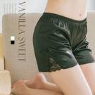 舒適透氣居家 側邊蕾絲 緞面睡褲 安全褲 - 香草甜心