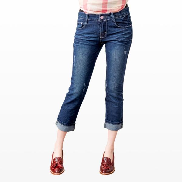 牛仔褲--蕾絲滾條繡線復古刷色魚紋九分/反折七八分小直筒牛仔褲(M-7L)-S74眼圈熊中大尺碼◎