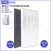 [現貨]適用 SHARP 夏普FU-A80 FU-A80T FU-A80T-W 空氣清淨機 HEPA替換濾芯+活性碳組