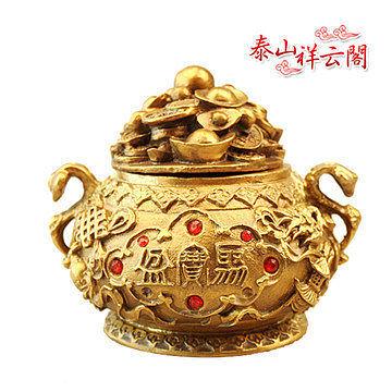開光銅聚寶盆擺件旺財家居工藝品