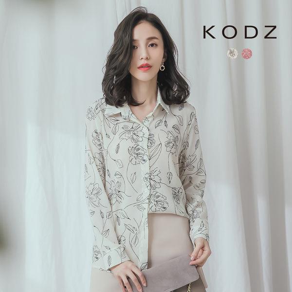 東京著衣【KODZ】清新率性花紋印花襯衫上衣(190369)