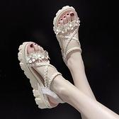 鬆糕涼鞋 鬆糕花朵涼鞋女2021年夏季新款外穿百搭仙女風粗跟配裙子的羅馬鞋 小天使