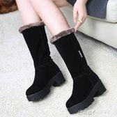 雪地靴女高筒韓版學生新款中筒靴子粗跟7CM馬丁靴冬保暖加絨 溫暖享家