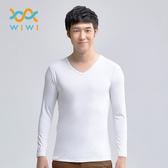 【WIWI】MIT溫灸刷毛V領發熱衣(純淨白 男S-3XL)