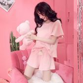 夏季純棉套裝短袖兩件套粉色甜美套裝家居服