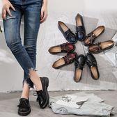 秋季擦色復古小皮鞋 英倫流蘇休閒大碼鞋《小師妹》sm671