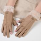 特賣促銷 露二指手套女冬天加絨加厚騎車用...