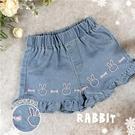 甜美蝶結兔兔荷葉邊牛仔短褲熱褲(3100...