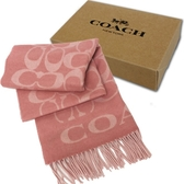 【COACH】大C LOGO 喀什米爾羊毛混蠶絲流蘇圍巾(粉)