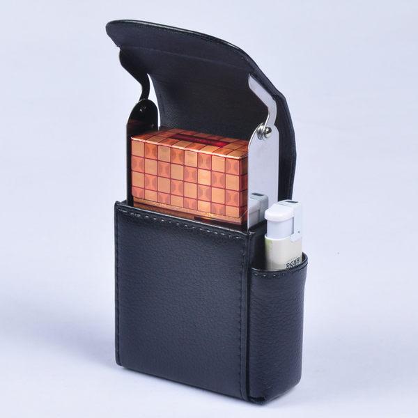 男士煙盒20支裝帶打火機皮質煙套整包裝超薄創意便攜香於煙包igo 青木鋪子