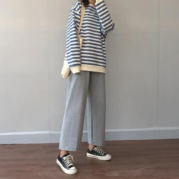 灰色運動褲女高腰垂感新款春秋薄款ins潮休閒寬鬆直筒寬管褲