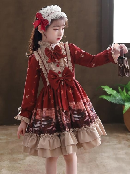 秋冬女童連身裙加絨兒童